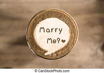 mí, café, concepto, arte, casar, latte