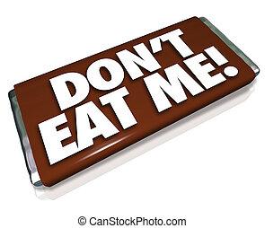 mí, chatarra, barra, malsano, haga no, alimento, dulce, chocolate, palabras, comer