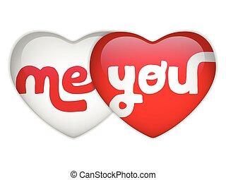 mí, corazón, usted, día, valentine