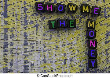 mí, dinero, corta en dados, palabras, exposición