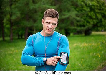 mí, esto, adminículo, jogging, ayuda, durante