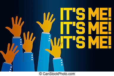 mí, palabra, él, levantar, manos