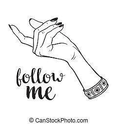 mí, seguir, gesto, mano femenina