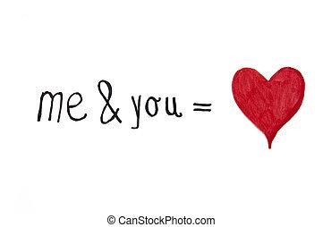 mí, usted, amor