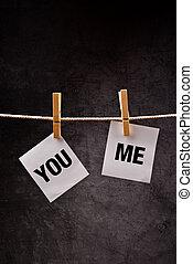 mí, usted, concepto, relación