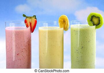 míchaný, ovoce, smoothies