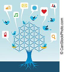 mídia, árvore, rede, social