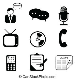 mídia, ícones, e, símbolos