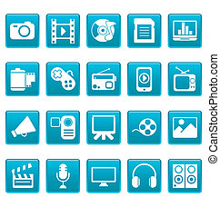 mídia, ícones, ligado, azul, quadrados
