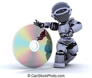 mídia, óptico, disco, robô