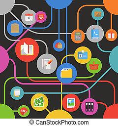 mídia, abstratos, modernos, esquema, ícones