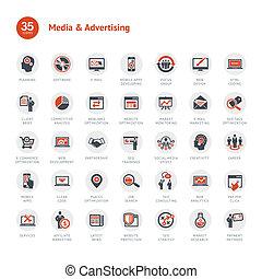 mídia, anunciando, ícones
