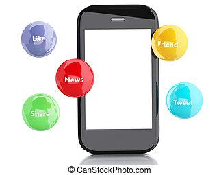 mídia, bolhas, smartphone, 3d, social
