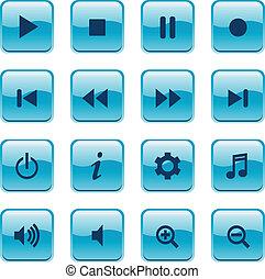 mídia, botão, ícones