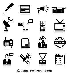mídia, branca, jogo, pretas, ícones