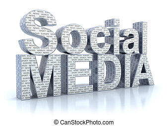 mídia, branca, palavra, isolado, social