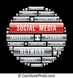 mídia, círculo, conceito, internet, social