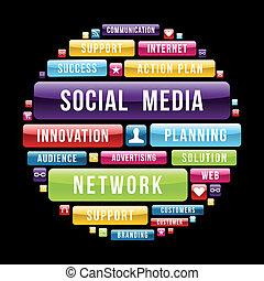 mídia, círculo, conceito, social