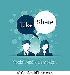 mídia, campanha, social