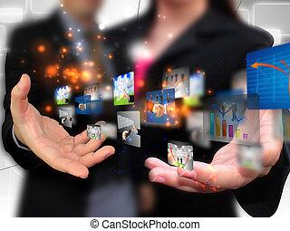 mídia, comércio pessoas, segurando, social