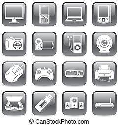 mídia, computador, icons.