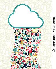 mídia, computando, rede, nuvem, social