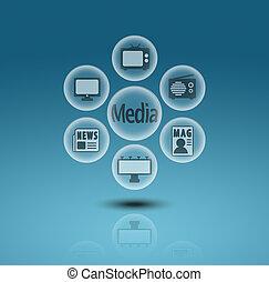 mídia, comunicação, ícones