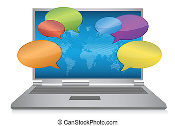 mídia, conceito, internet, social