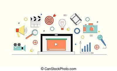 mídia, conceito, marketing, abstratos, experiência., vídeo, internet