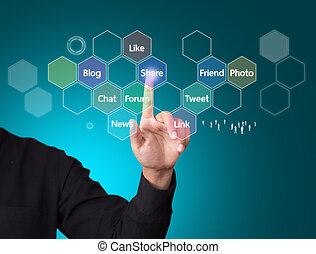 mídia, conceito, networking, social