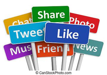 mídia, conceito, social