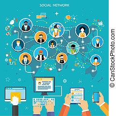 mídia, conexão, conceito, rede, social