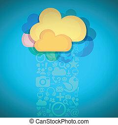 mídia, conexão, nuvem, social