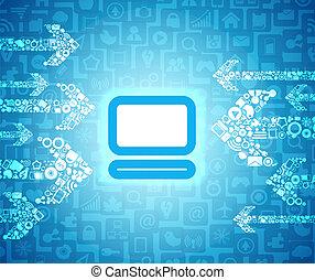 mídia, conteúdo, setas, ir, para, glowing, computador,...