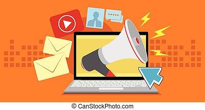 mídia, digital, vário, marketing