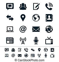 mídia, e, comunicação, ícones