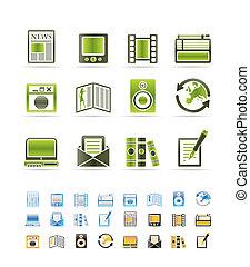 mídia, e, informação, ícones