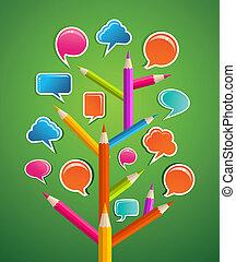 mídia, educative, árvore, social