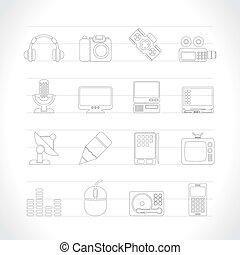 mídia, equipamento, ícones