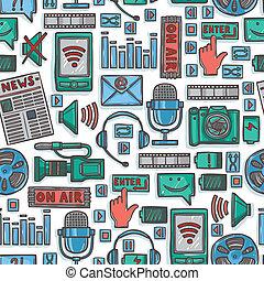 mídia, esboço, ícones, seamless, padrão