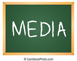 mídia, escrito, chalkboard