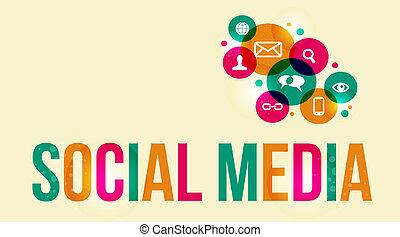 mídia, fundo, social