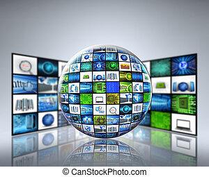 mídia, global, tecnologia