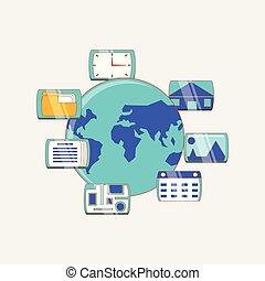 mídia, globo, social, conexão, mundo, internacional