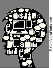 mídia, homem, icons., social