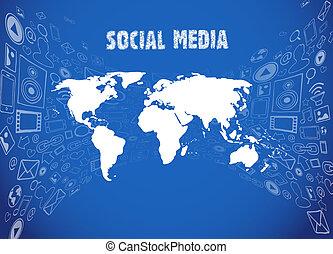 mídia, ilustração, social