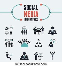 mídia, infographic, template., social