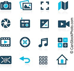 mídia, interface, ícones, --, azure