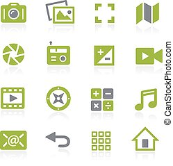 mídia, interface, icons., natura