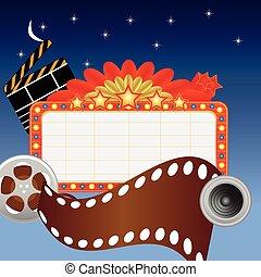 mídia, itens, teatro, sinal néon